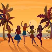 donne che ballano sulla spiaggia al tramonto vettore
