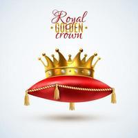 cuscini rossi della corona reale vettore