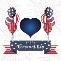 cuore con palloncini e nastro del memorial day
