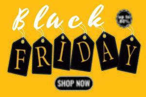 manifesto giallo dell'etichetta di vendita del venerdì nero