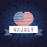 bandiera e cuore con nastro per il giorno dell'indipendenza degli Stati Uniti