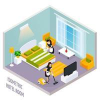 interno camera d'albergo isometrica