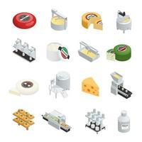 icone isometriche di fabbrica di produzione di formaggio vettore