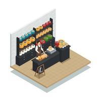 composizione isometrica della fabbrica di produzione di formaggio vettore