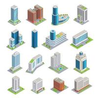 set di edifici isometrici