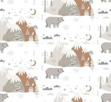 orso disegnato a mano nel modello di stile scandinavo invernale