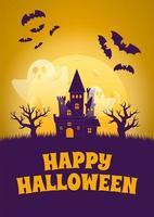 poster di halloween con casa stregata e fantasmi