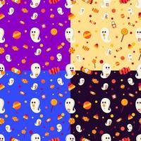 Reticolo senza giunte di Halloween con fantasmi e caramelle