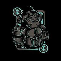 design della maglietta da combattimento robot scimmia di ferro