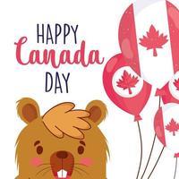 castoro con palloncini canadesi per felice giorno del canada