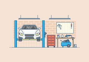 Illustrazione di garage del corpo auto