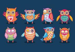 Funny Owls Birds o Buhos Full Color vettore