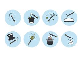Set di icone di bastone e elemento magico vettore