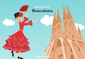 Benvenuto all'illustrazione di vettore di Barcellona