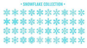 bella collezione di design blu fiocco di neve vettore