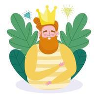 cartone animato uomo avatar con corona e diamanti vettore