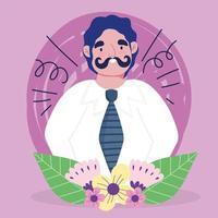 cartone animato uomo avatar con i baffi vettore