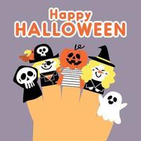 simpatico disegno felice bambola con dita di halloween