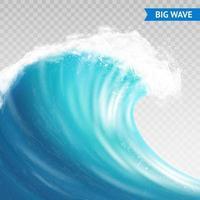 grande onda dell'oceano realistico vettore
