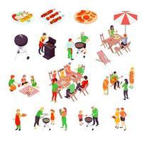 set da picnic e barbecue in famiglia isometrica