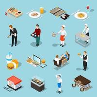 set di icone di industria alimentare isometrica vettore