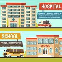 set di banner con edifici comunali vettore