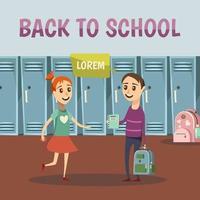 modello di banner con adolescenti che parlano a scuola