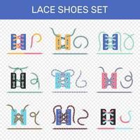 set tutorial per l'allacciatura delle scarpe vettore