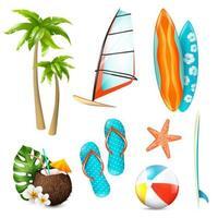 set di elementi di vacanze estive vettore