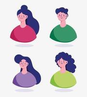 avatar di personaggi dei cartoni animati di uomo e donna isolato vettore