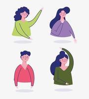 avatar di personaggi dei cartoni animati di uomo e donna isolato