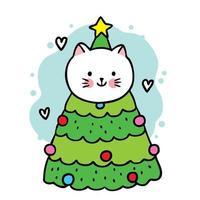 gatto simpatico cartone animato in un albero di natale vettore