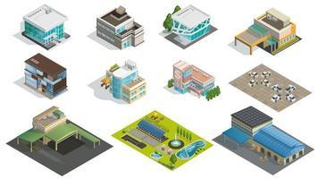 edifici isometrici, fabbrica e giardino