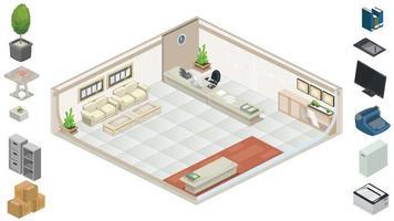 mobili per ufficio isometrici vettore