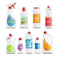 set di bottiglie realistiche di prodotti per la pulizia vettore