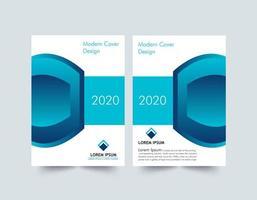 layout di copertina del rapporto annuale blu e bianco