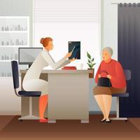 medico che parla con un paziente vettore