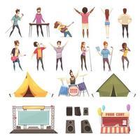insieme di elementi e persone del festival all'aperto