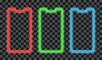 design della linea al neon rosso, verde e blu con cornice per smartphone vettore