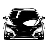disegno anteriore auto in bianco e nero vettore