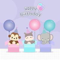 animali di compleanno seduti in confezione regalo con palloncini vettore