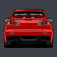 vista posteriore auto rossa disegno vettore