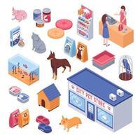 set isometrico del negozio di animali