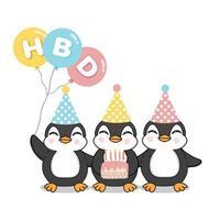 felici simpatici pinguini che festeggiano il compleanno vettore