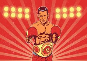 Boxer con cintura di campionato davanti alle luci da combattimento vettore