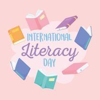 giornata internazionale dell'alfabetizzazione. molti libri in giro per lettere vettore