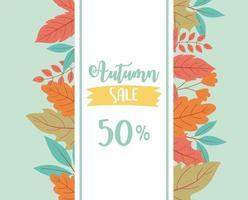 etichetta sconto shopping in foglie colorate