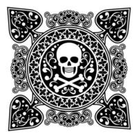 design di picche con teschio in filigrana e pirata