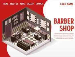 Pagina di destinazione isometrica del negozio di barbiere vettore