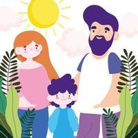 madre, padre e figlia al sole
